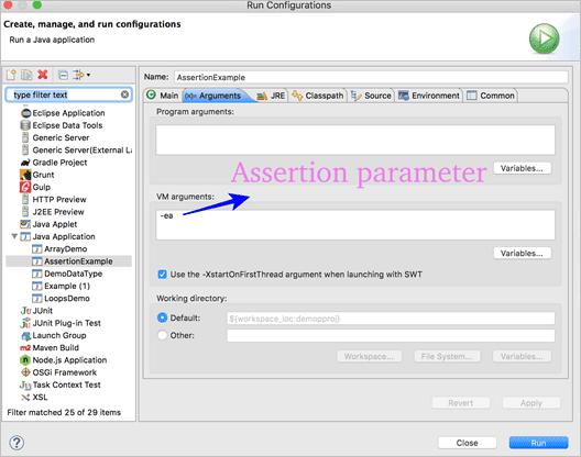 assersion parameter