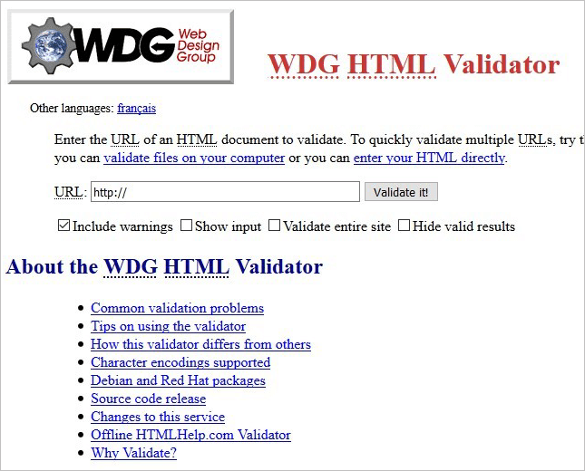 11.WDG HTML Validator Online Tool