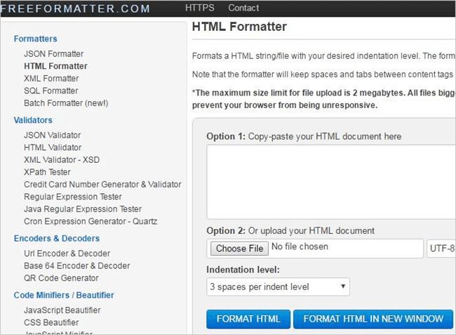 12.FREEFORMATTER HTML VALIDATOR