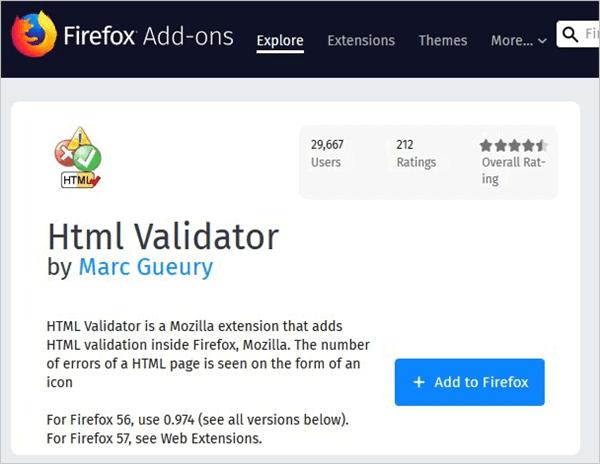 8.Firefox HTML validator
