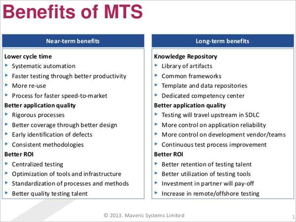 Benefits of MTS