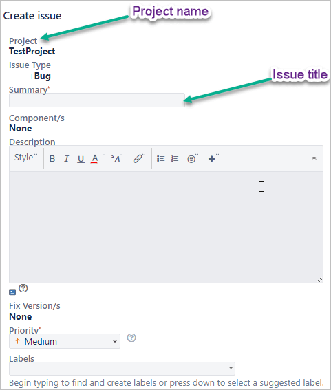 create Issue in JIRA