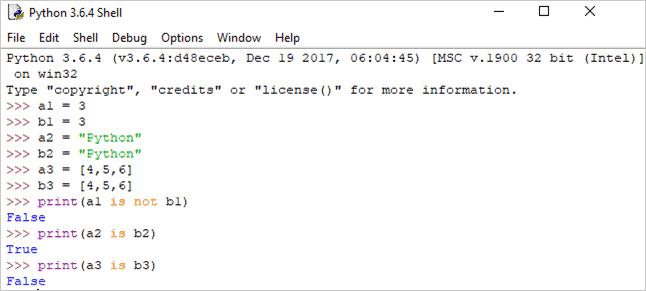 Python identity operator example