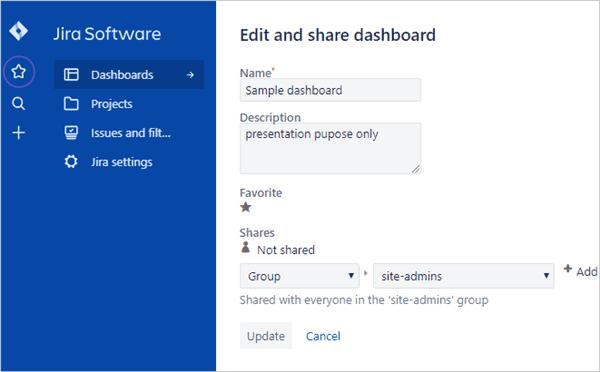 share JIRA dashboard