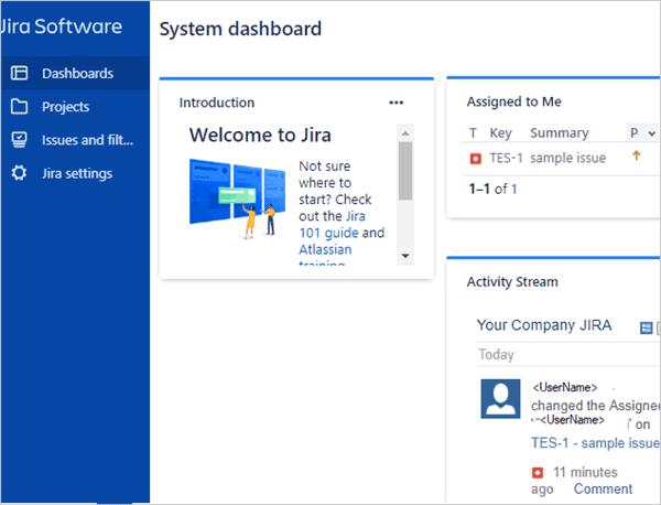 JIRA system dashboard