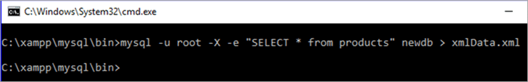 export the table as a XML file in MySQL