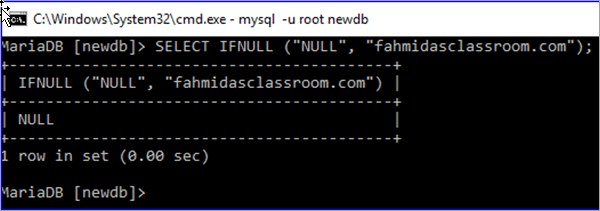 First argument of IFNULL function is NULL
