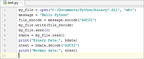 Example - Writing and Reading Data from the Binary File