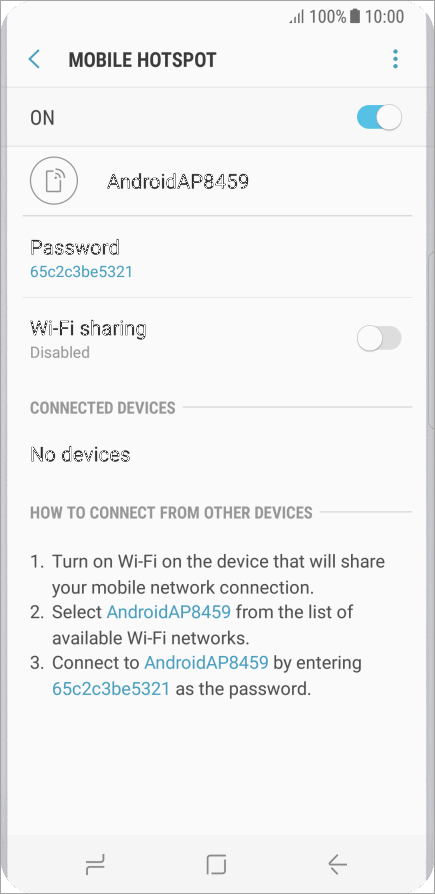 activating mobile hotspot for android phone