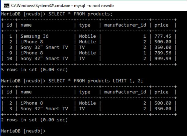 LIMIT Clause in MySQL