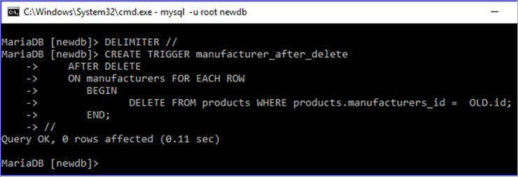 TRIGGER in MySQL