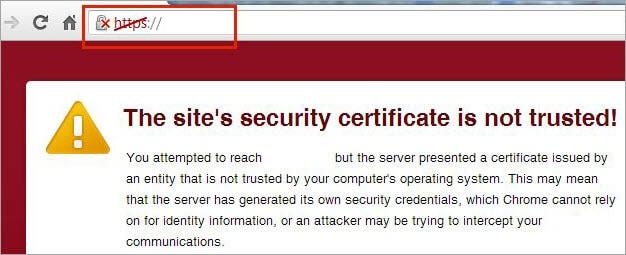 untrusted website symbol