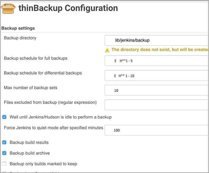 Thinbackup configurration
