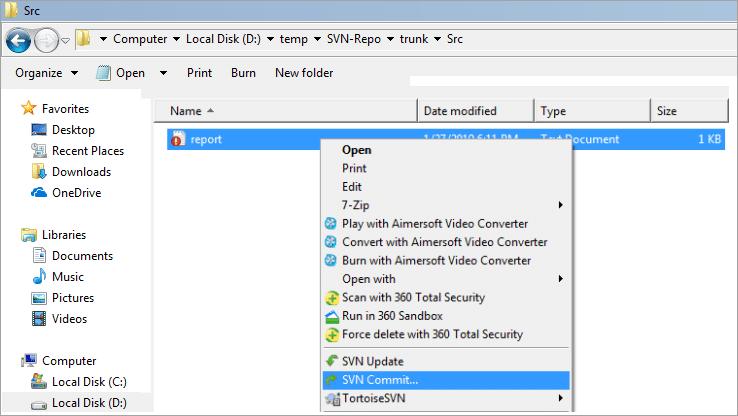 Modift the file in SVN Repository