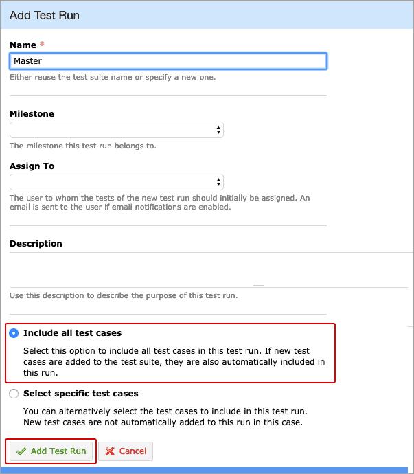 Testrun option