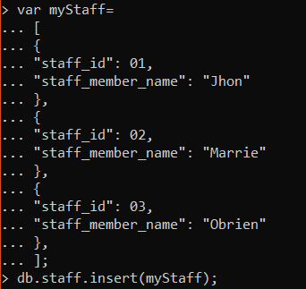 use of insert () command In Mongo Shell