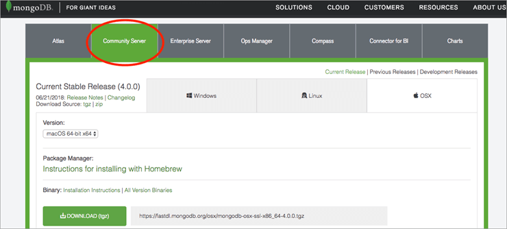 To Get the Download File Of MongoDB From Website