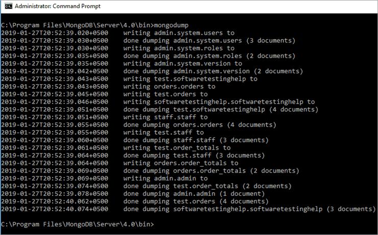 mongodump Results in CMD Shell