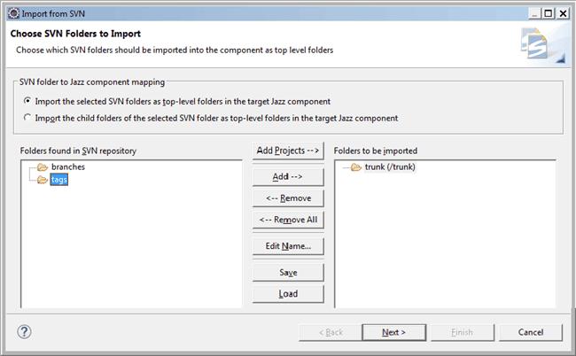 folders to import