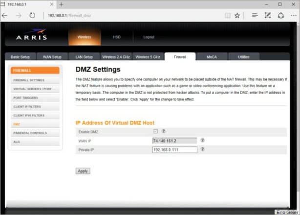 Double NAT DMZ mode