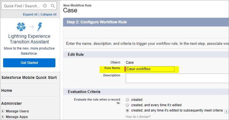 Workflow rule name