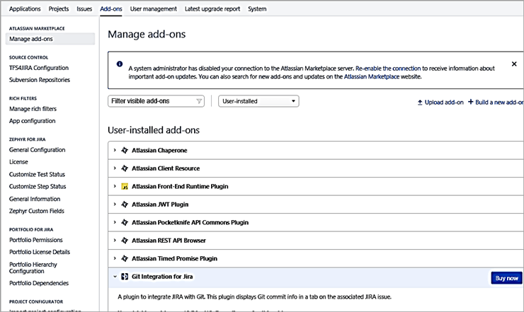 The Git integration for Jira add-on or Plug-in installed