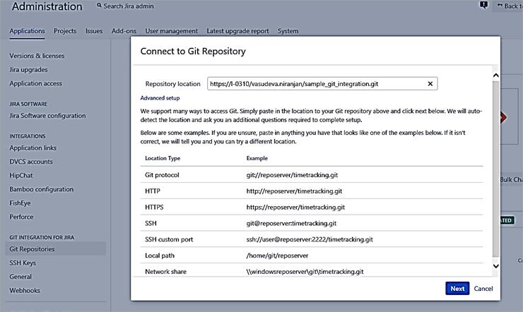 Git repository URL