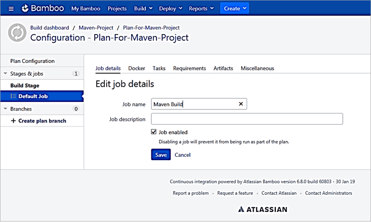 Create the Build Stage and rename the Default job to Maven build