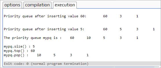 priority_queue - Execution