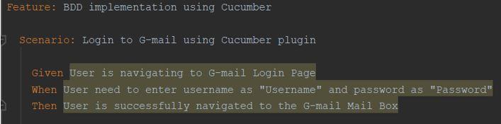 Cucumber BDD implementation