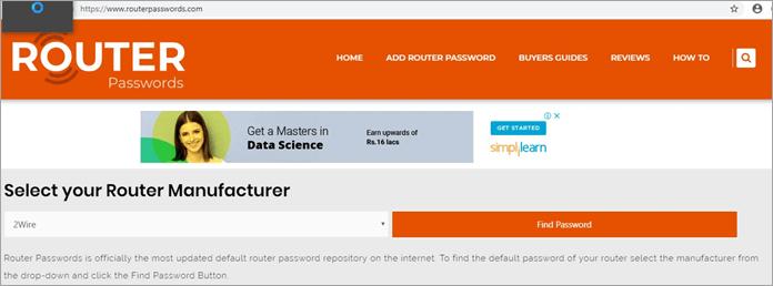 Website for Default Credentials