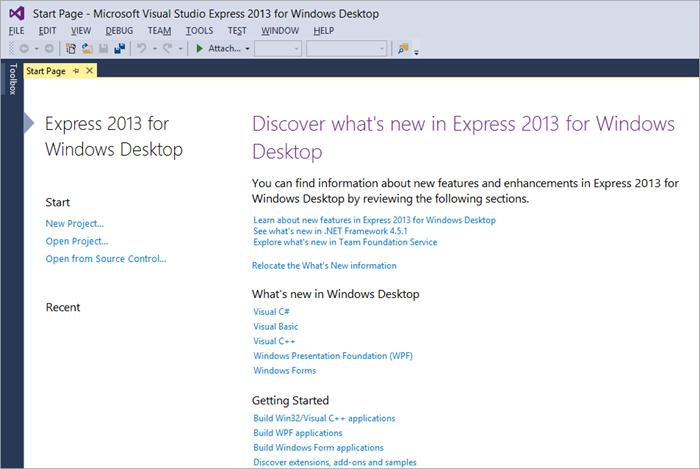 Visual Studio Express Startup Page