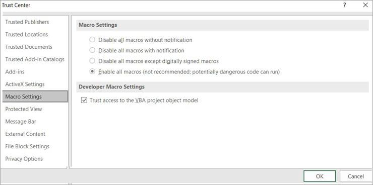 Enable Macro on Excel
