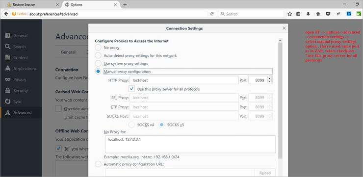 Firefox zap setup