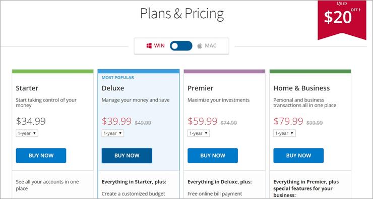 Quicken Pricing Windows