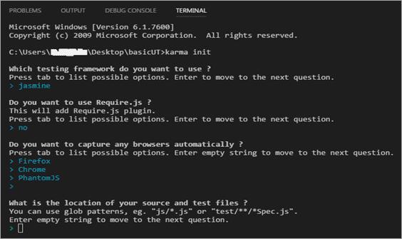 Running karma init command