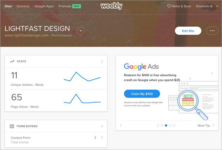 Weebly-Dashboard