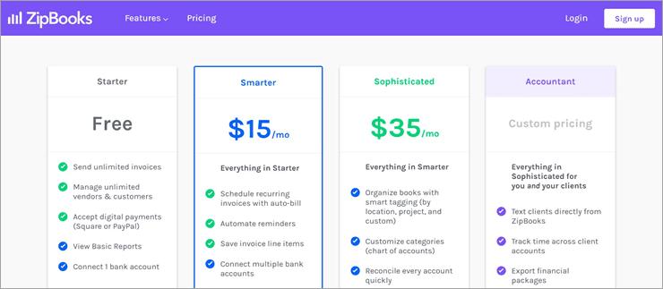 Zipbooks pricing