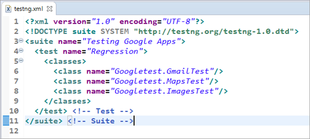 Look of the Testng.xml file