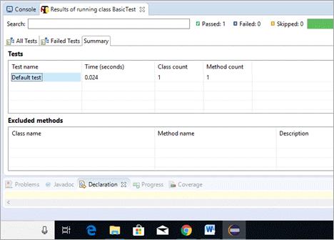 Test Summary tab