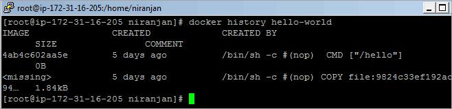 Docker history command