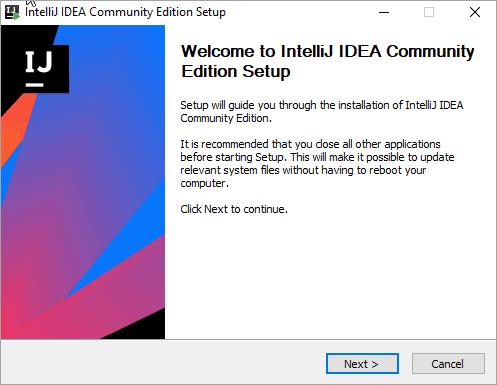 IntelliJ Installation Setup Page
