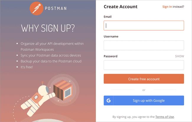 Postman-Sign up