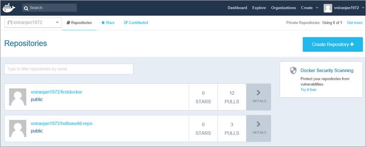 logged into Docker Hub