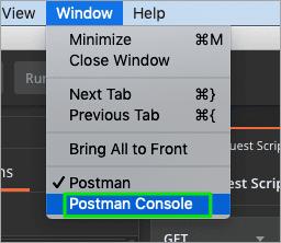 Postman Console Menu