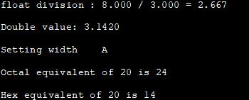 printf example - Output