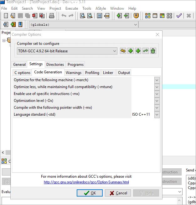 C++11 Settings