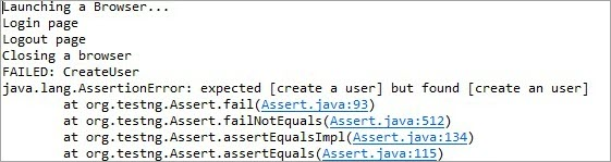 Output when expected and Actual messages are not equal