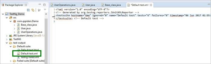 Xml file generated