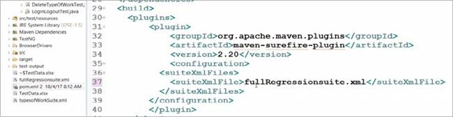 Name fullRegressionsuite.xml in <suiteXmlFile> tag